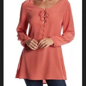 NWOT Acrobat  Long shirt Tunic 100% Silk Size L